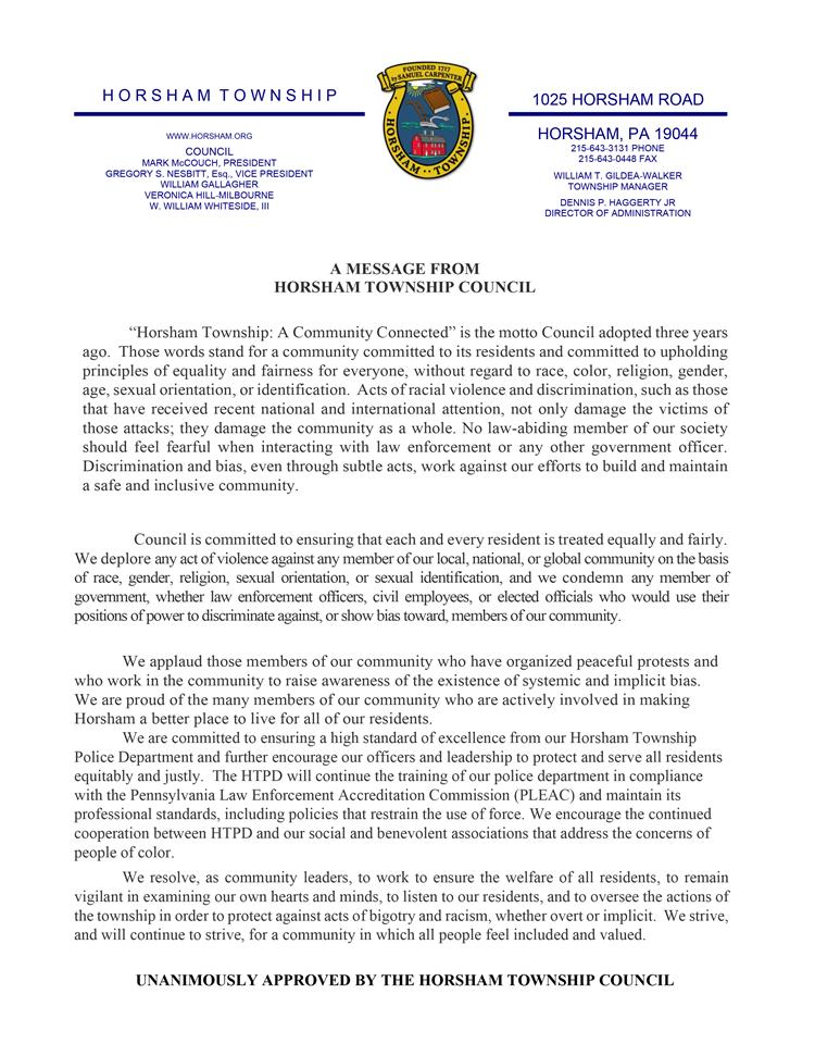 Statement Condemning Racism & Discrimination